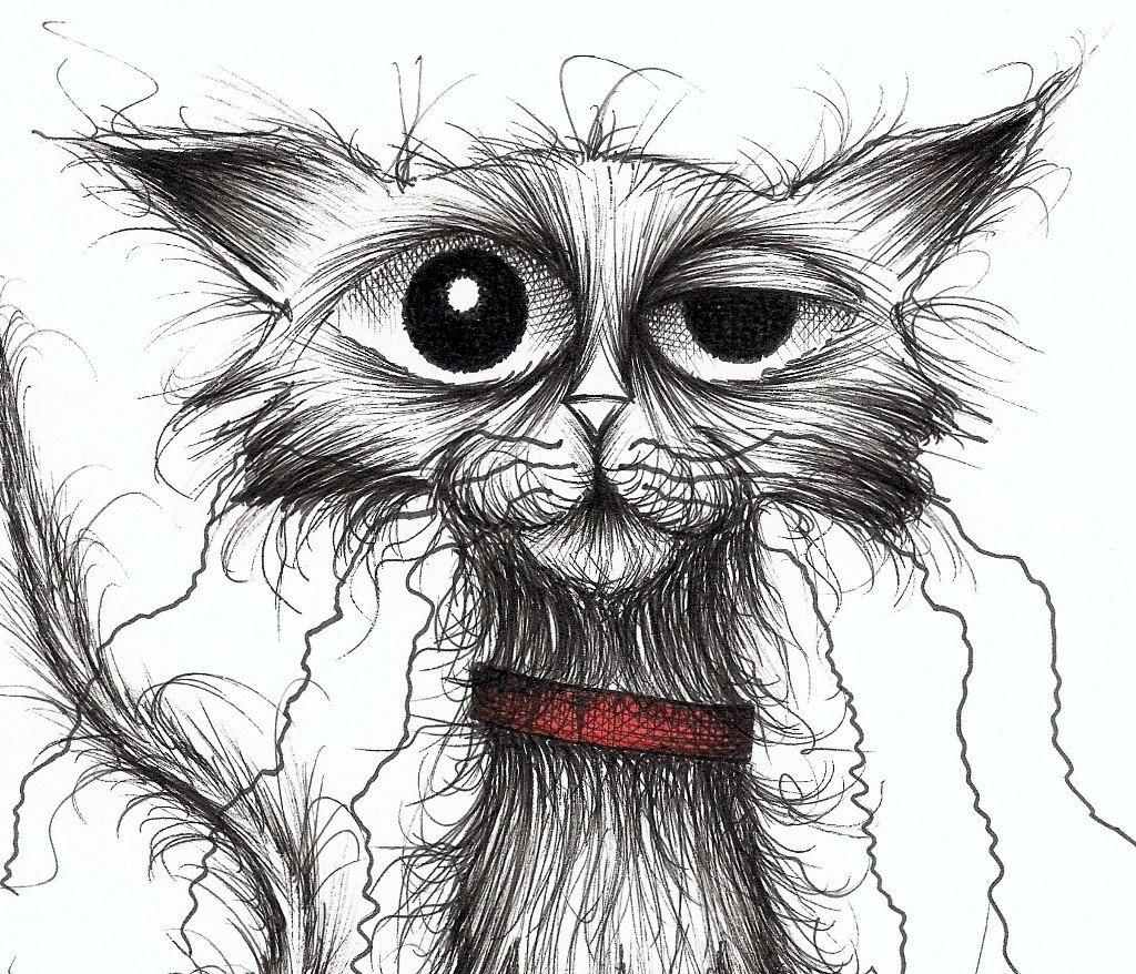 Bad cat Naughty kitty Original artwork ink cartoon by KeithMills, £19.00