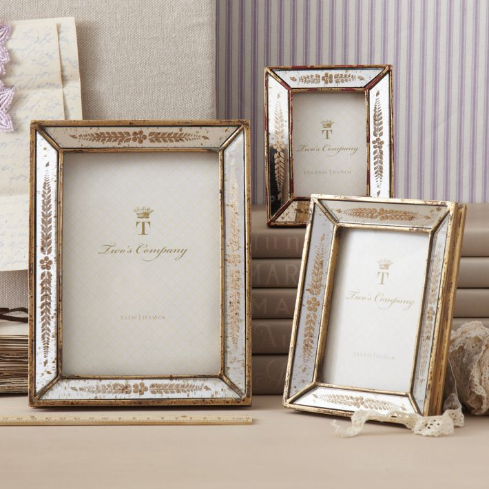 251c5f1a1d42 S 3 Gold Leaf Photo Frames Assorted 3 Sizes © Two s Company ...