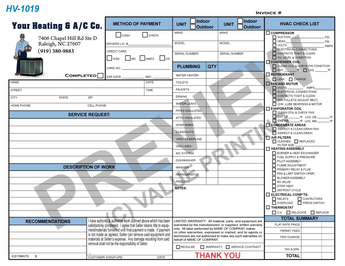 Hvac Invoice Plumbing Invoice Combo Work Order Form From Value