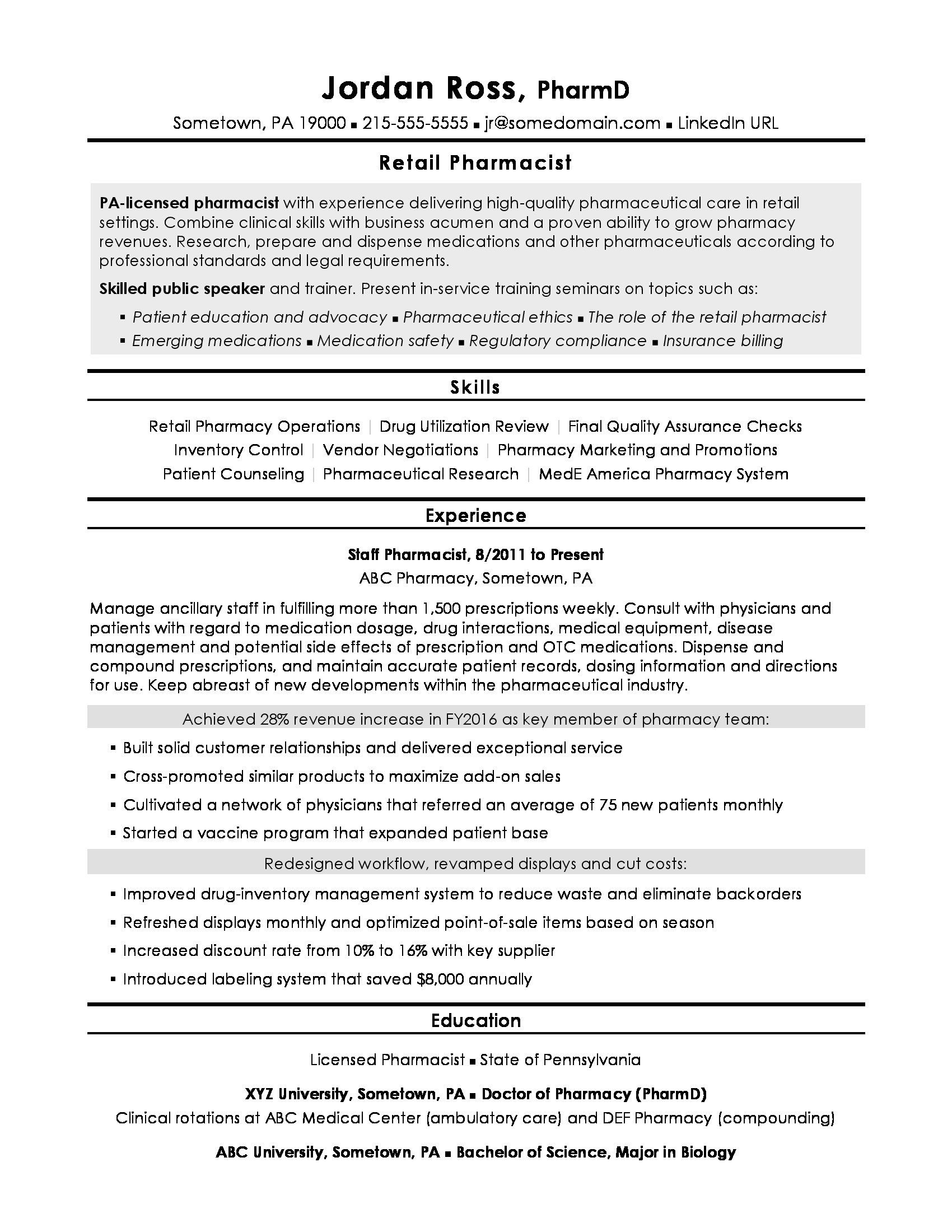Pharmacist Resume Sample Resume Examples Resume Format