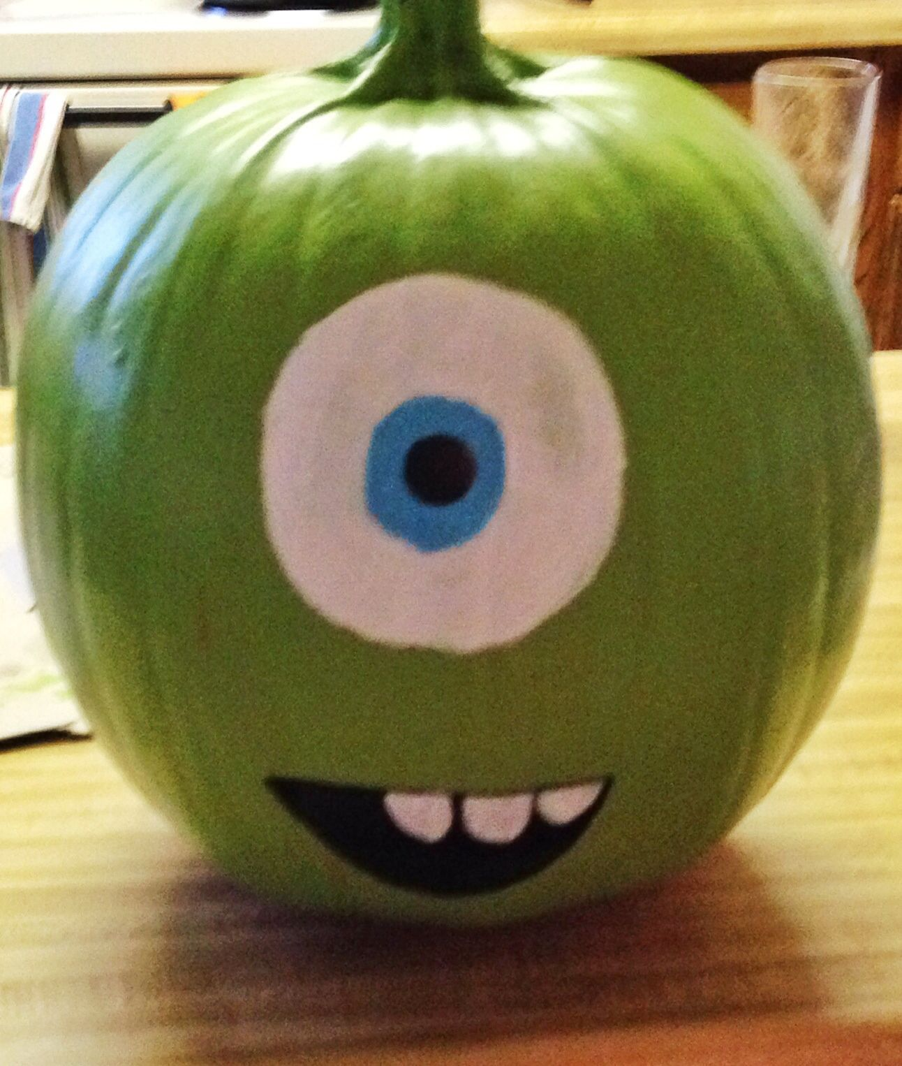mike wazowski painted pumpkin mine came out super cute - How To Paint Pumpkins For Halloween