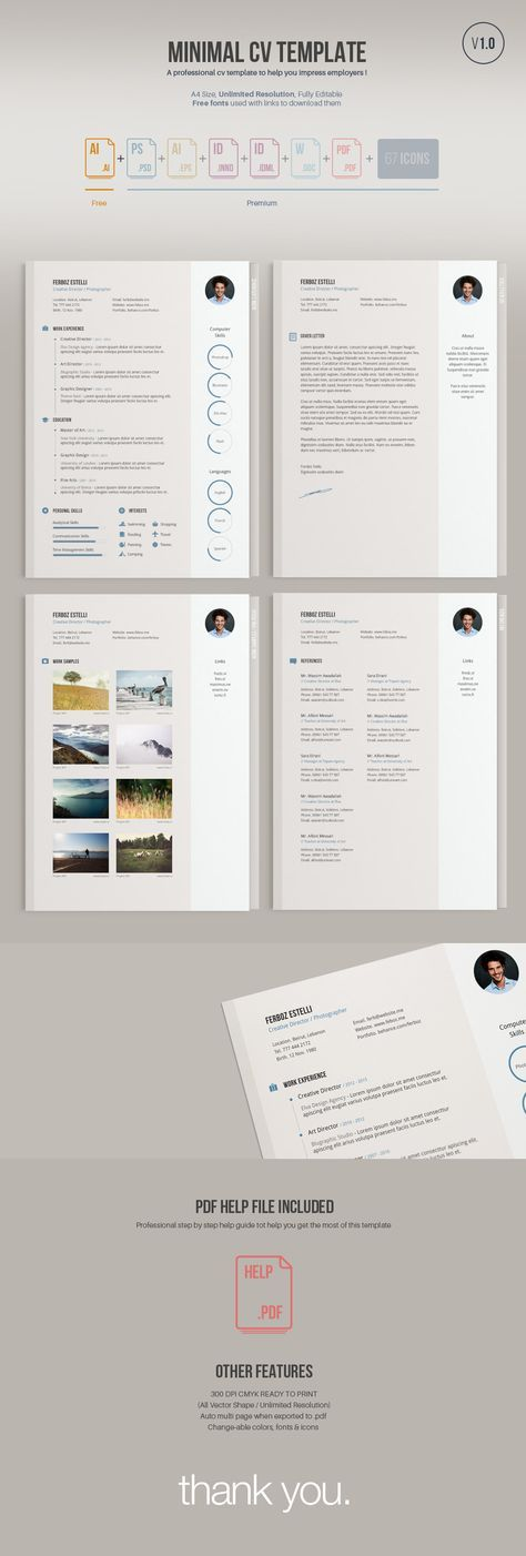 A minimal easy to edit free resume template; free version comes in