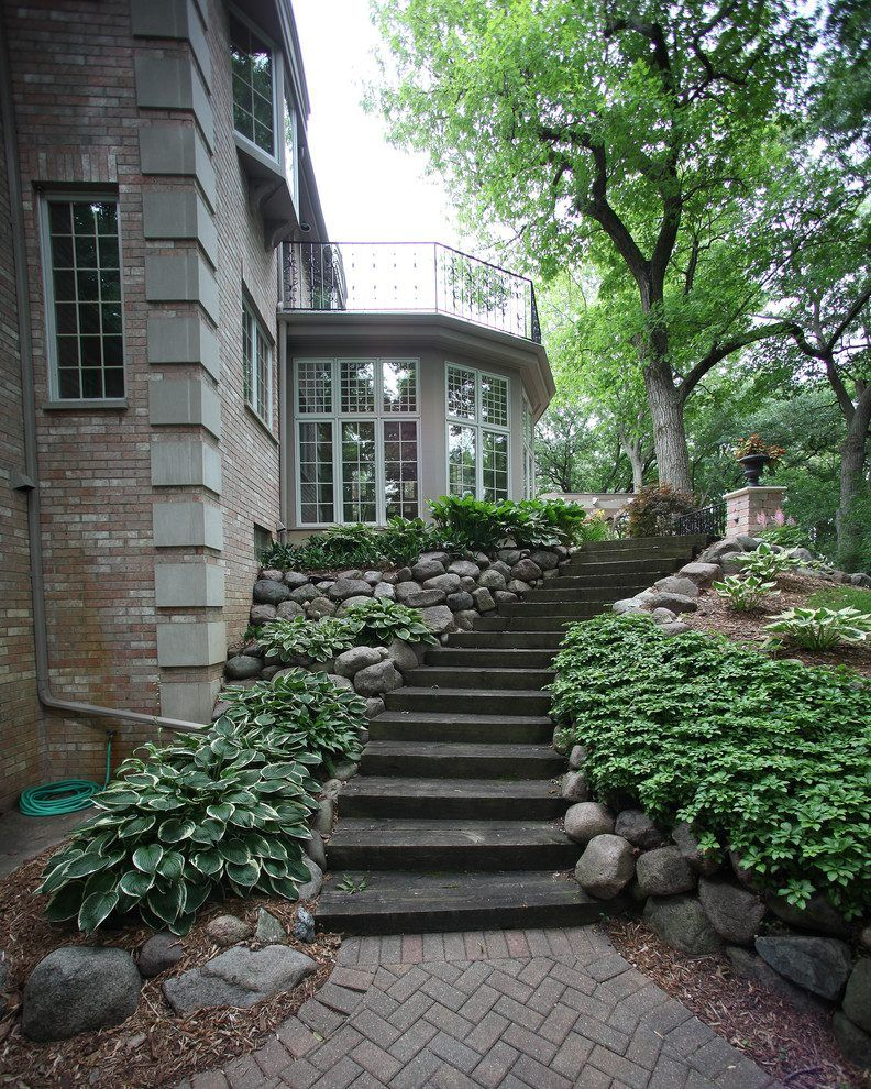 Railroad Ties Landscaping Landscape Traditional With Brick Path Bay Window