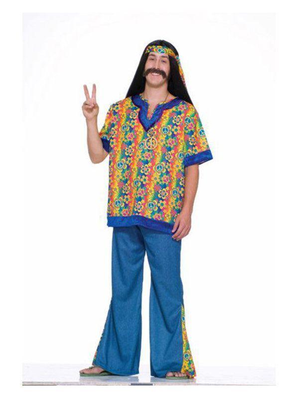 Mens Plus Size Hippie Dude Costume in 2018 Decades Costume Ideas