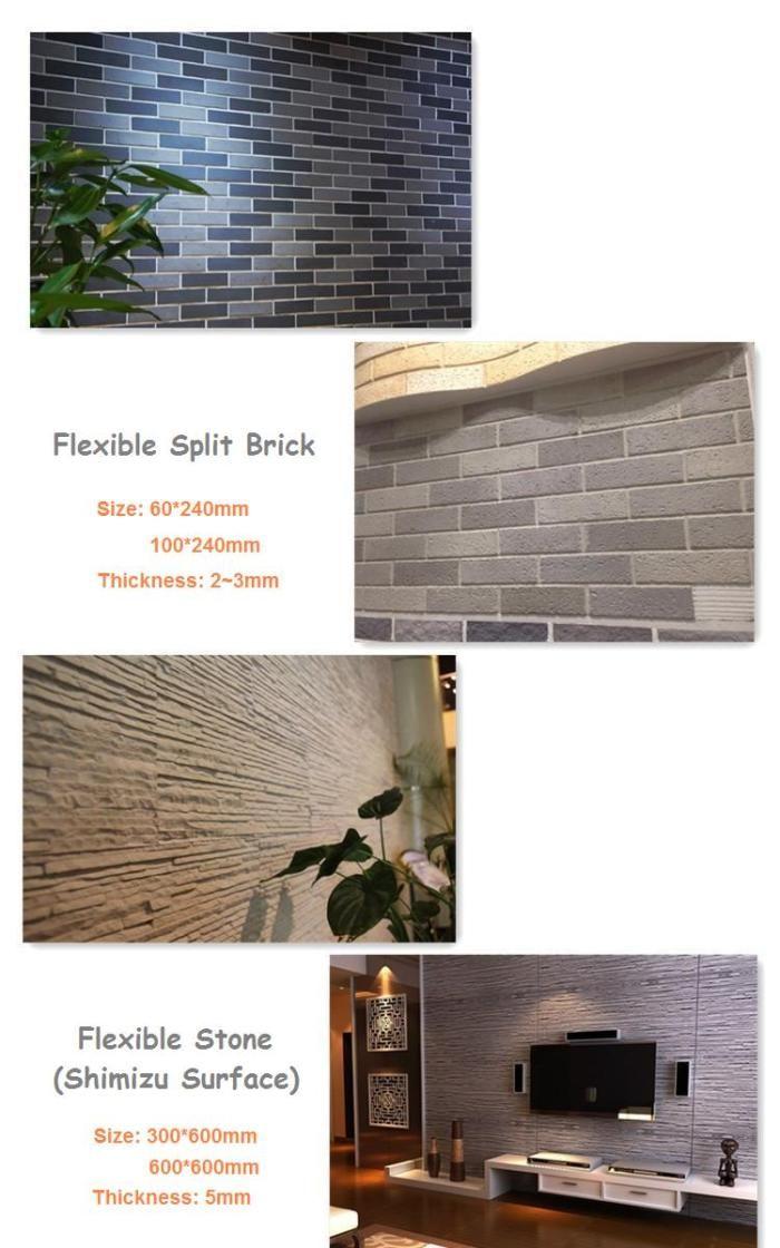 Fireproof Flexible Wall Tiles Soft Split Brick Ceramic Tile Gp