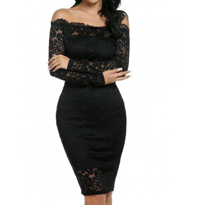 73ed992253cc Meaneor Sexy Off Shoulder Lace Bodycon Pencil Dress - Black | Buy online | Jumia  Nigeria