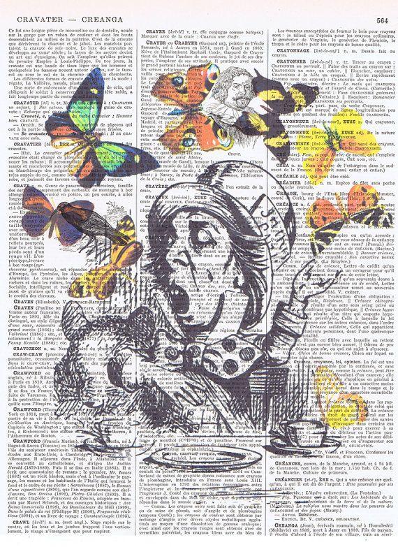 Alice in Wonderland Book Page Art Mad Hatters Hat Art Print