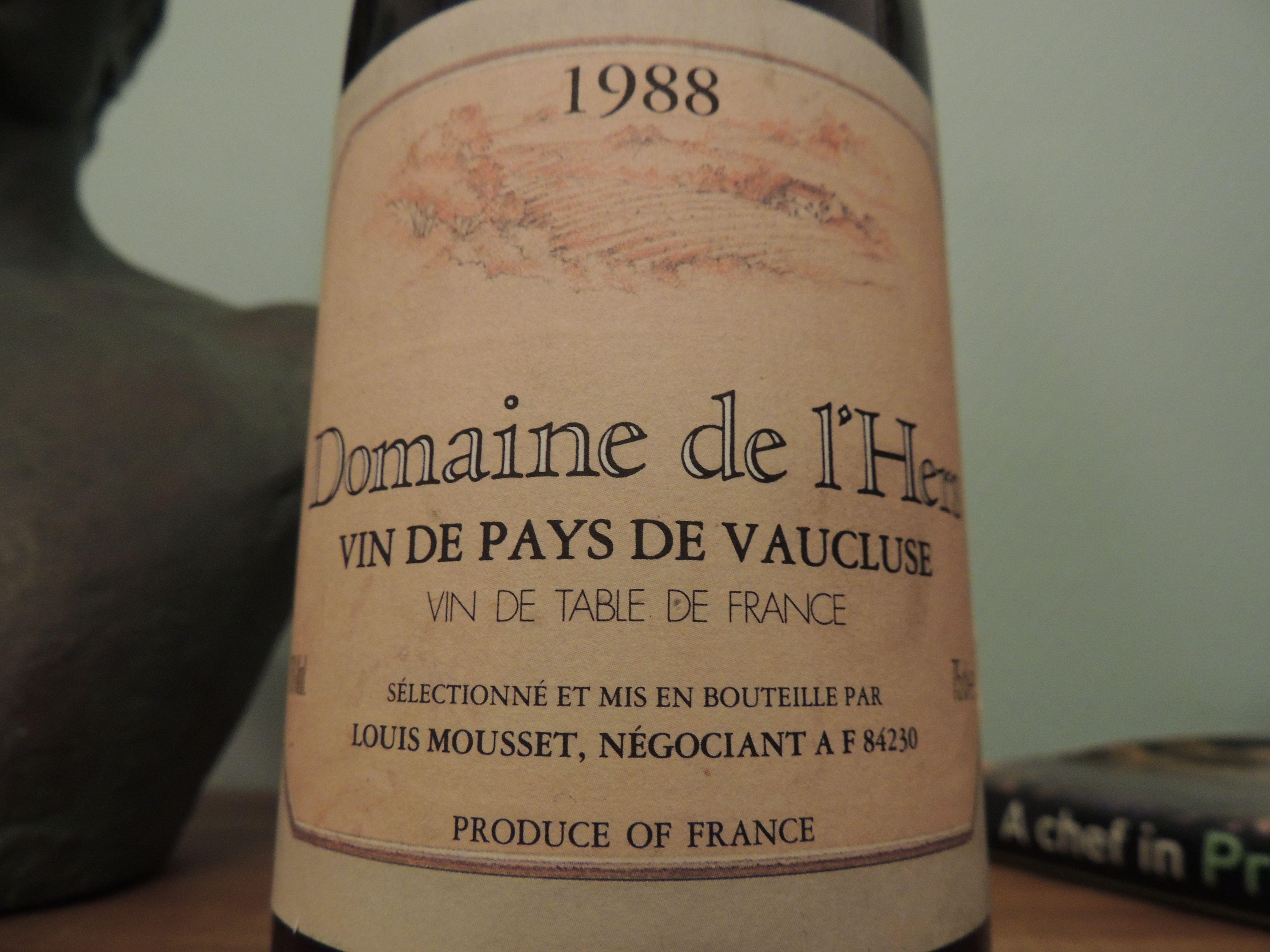 Domaine de l'Hers 1988 Vin de Pays de Vaucluse