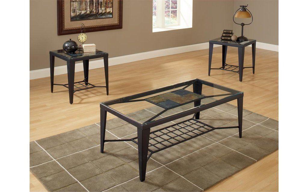 Diamond slate and glass coffee table set my furniture