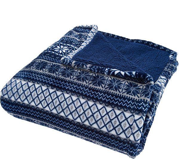 Berkshire Full Fair Isle Velvet Soft Reverse to Sherpa Blanket
