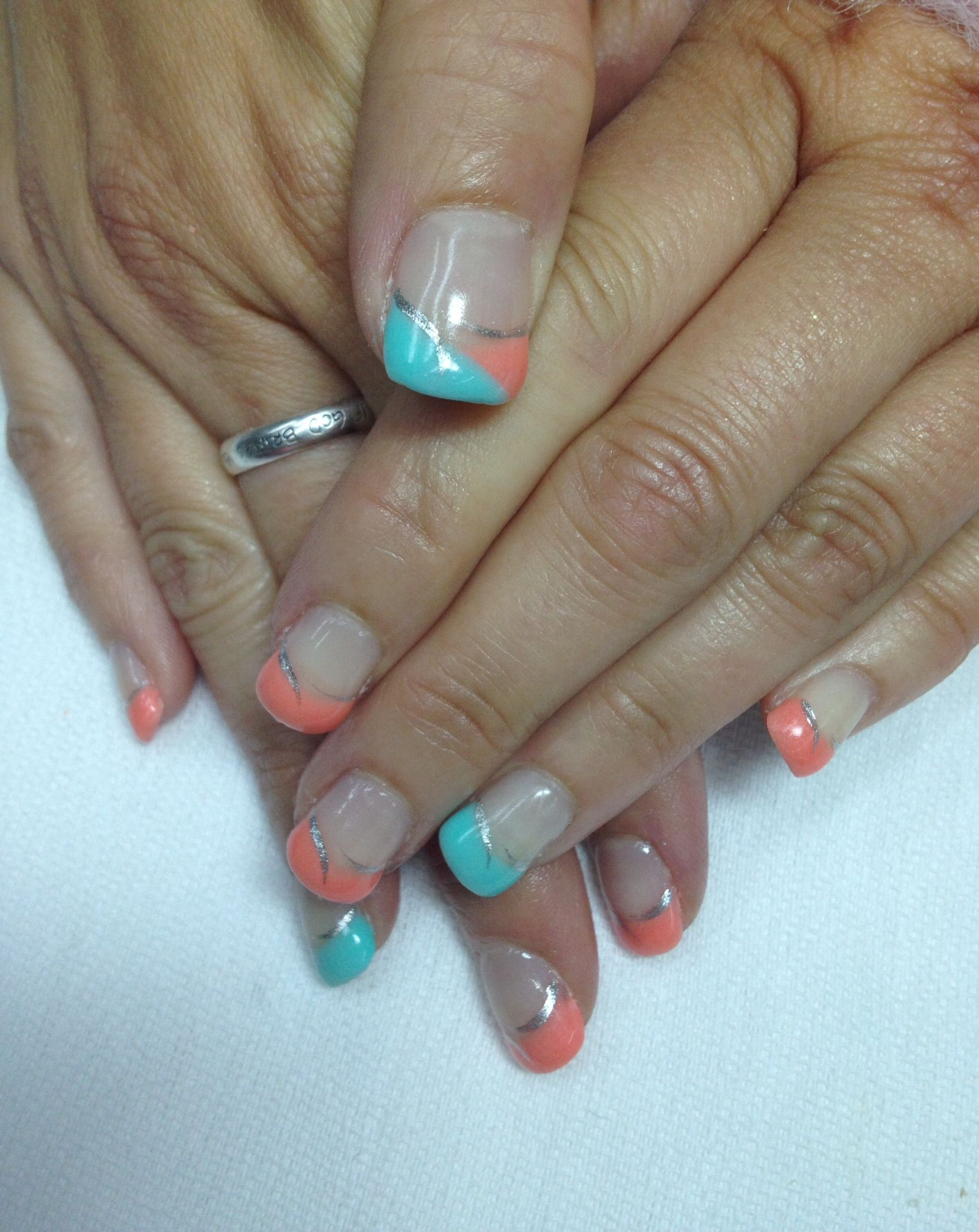 Cool summer coral & Aqua French gel nails! Non-toxic odorless gel ...