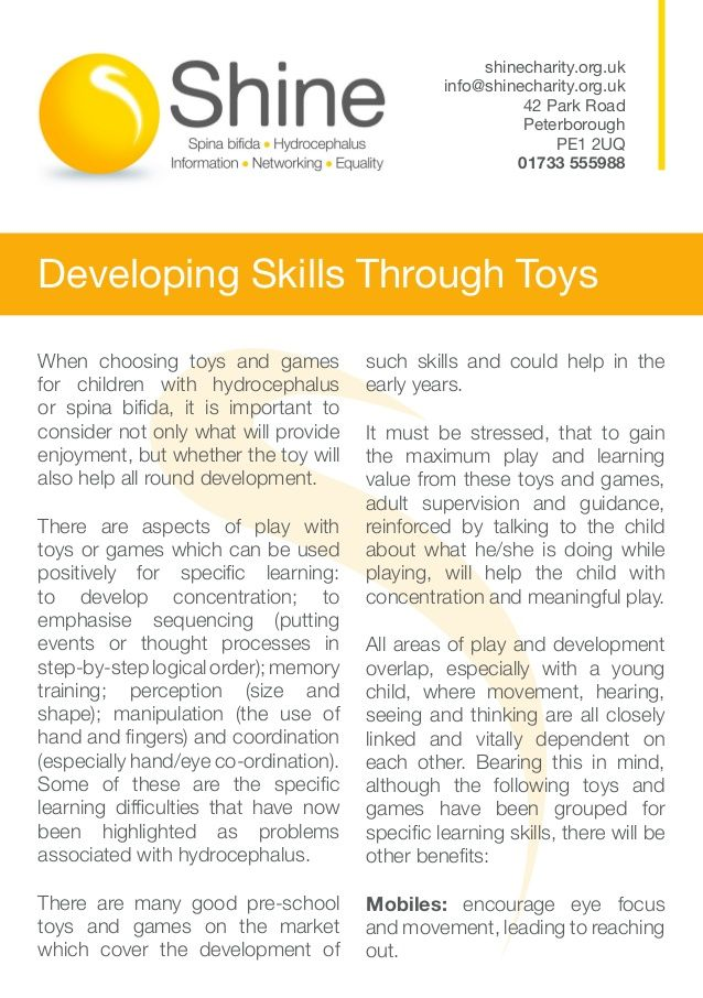 When Choosing Toys And Games For Children With Hydrocephalus Or