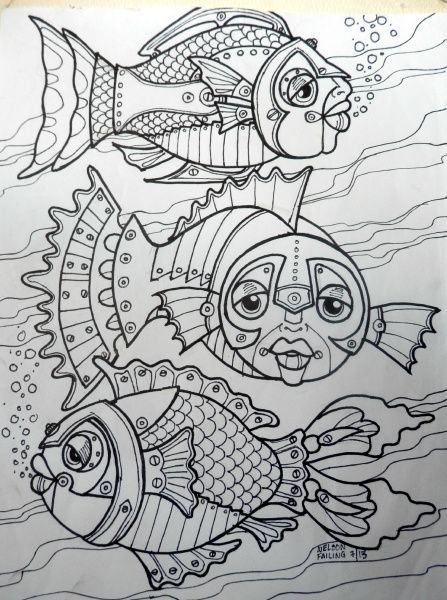 steampunk fishies  fun art  coloring pages colorful