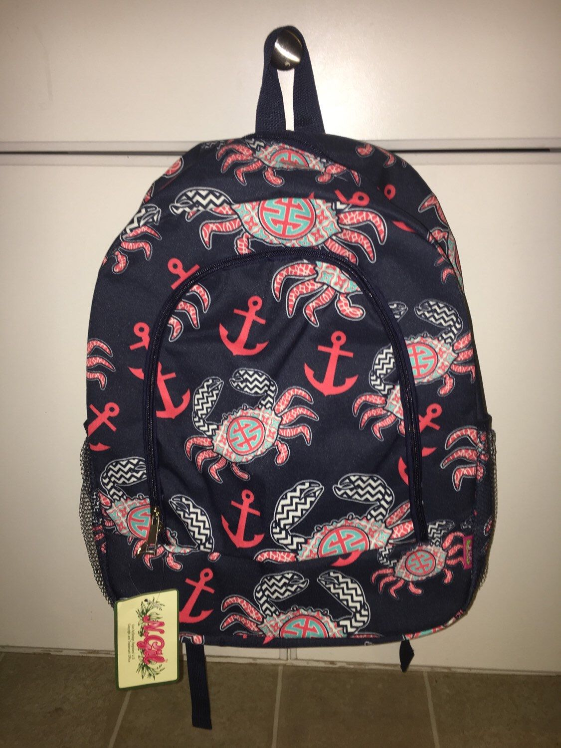 Monogrammed Crab Print School Size Backpack Bookbag- Personalized with Embroidered  Name - Navy f6c067e78d280