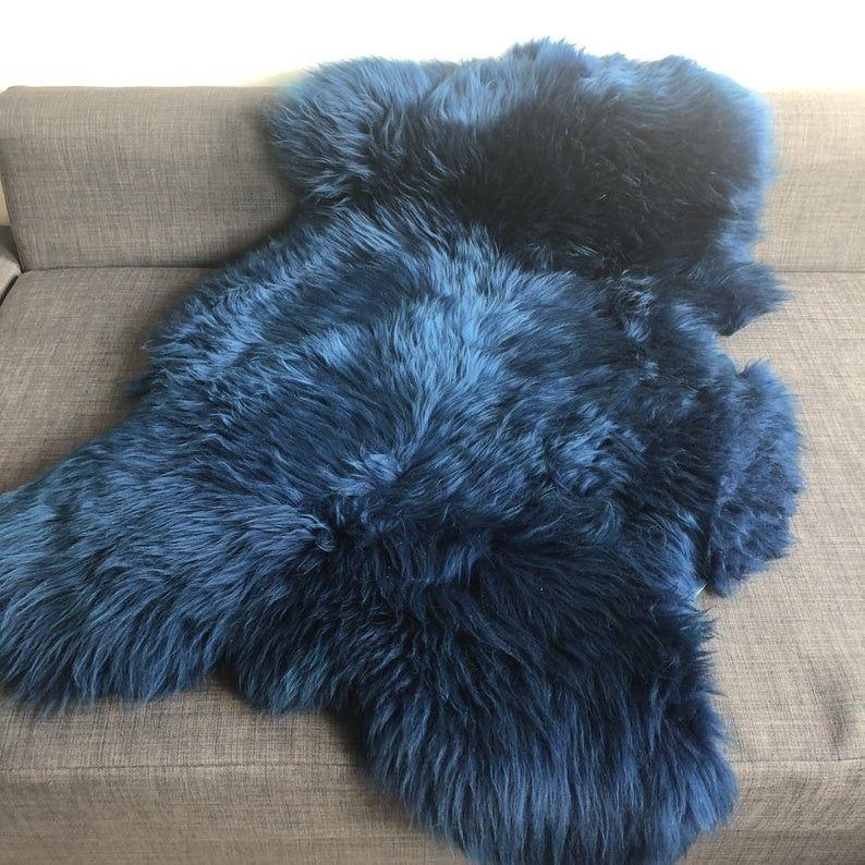 XLarge Icelandic Navy Blue Sheepskin Rug 100 Natural