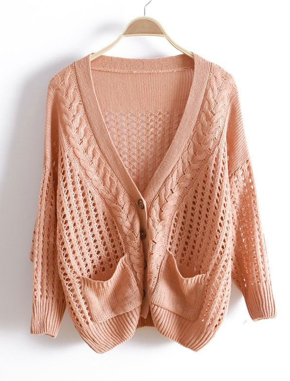 f5c5a2fa6739e Pink Long Sleeve Cable Knit Hollow Cardigan Sweater US 32.90