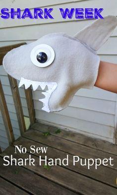 NO SEW Shark Puppet Craft Tutorial for Shark Week #handpuppets