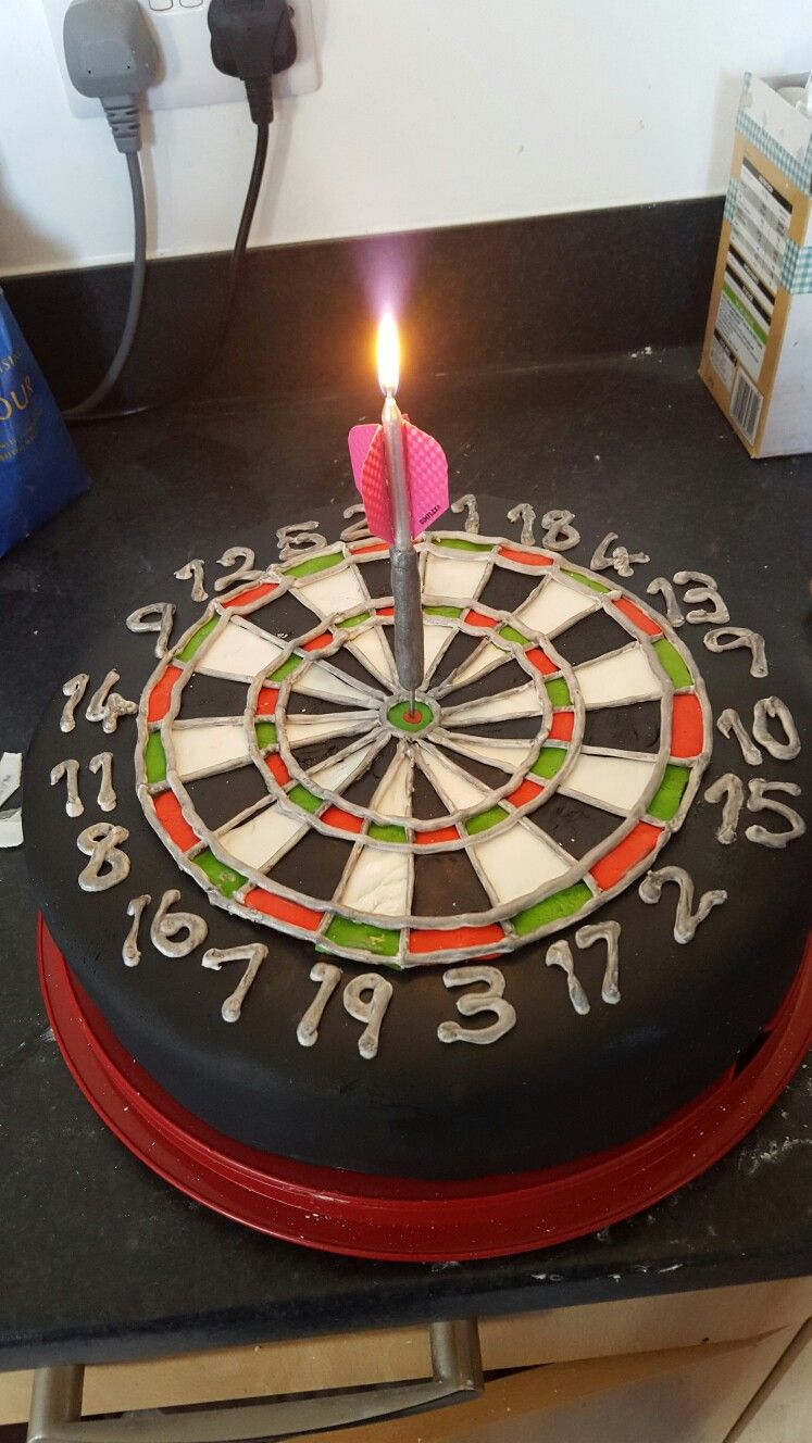Dartboard Cake With Dart Candle I Made Out Of A Dowel Cocktail