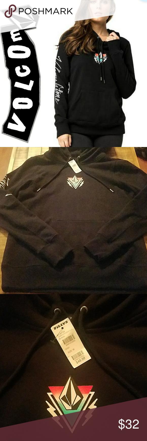 Nwt Volcom Black Hoodie Medium Clothes Design Fashion Black Hoodie