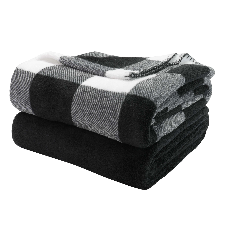 "Mainstays Fleece Plush Throw Blanket, 50"" x 60"", Black"
