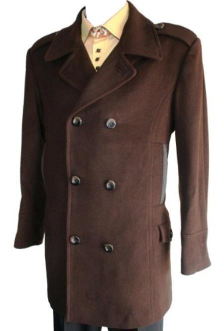 Men S Brown Peacoat Wool Blend Double, Mens Chocolate Brown Pea Coat