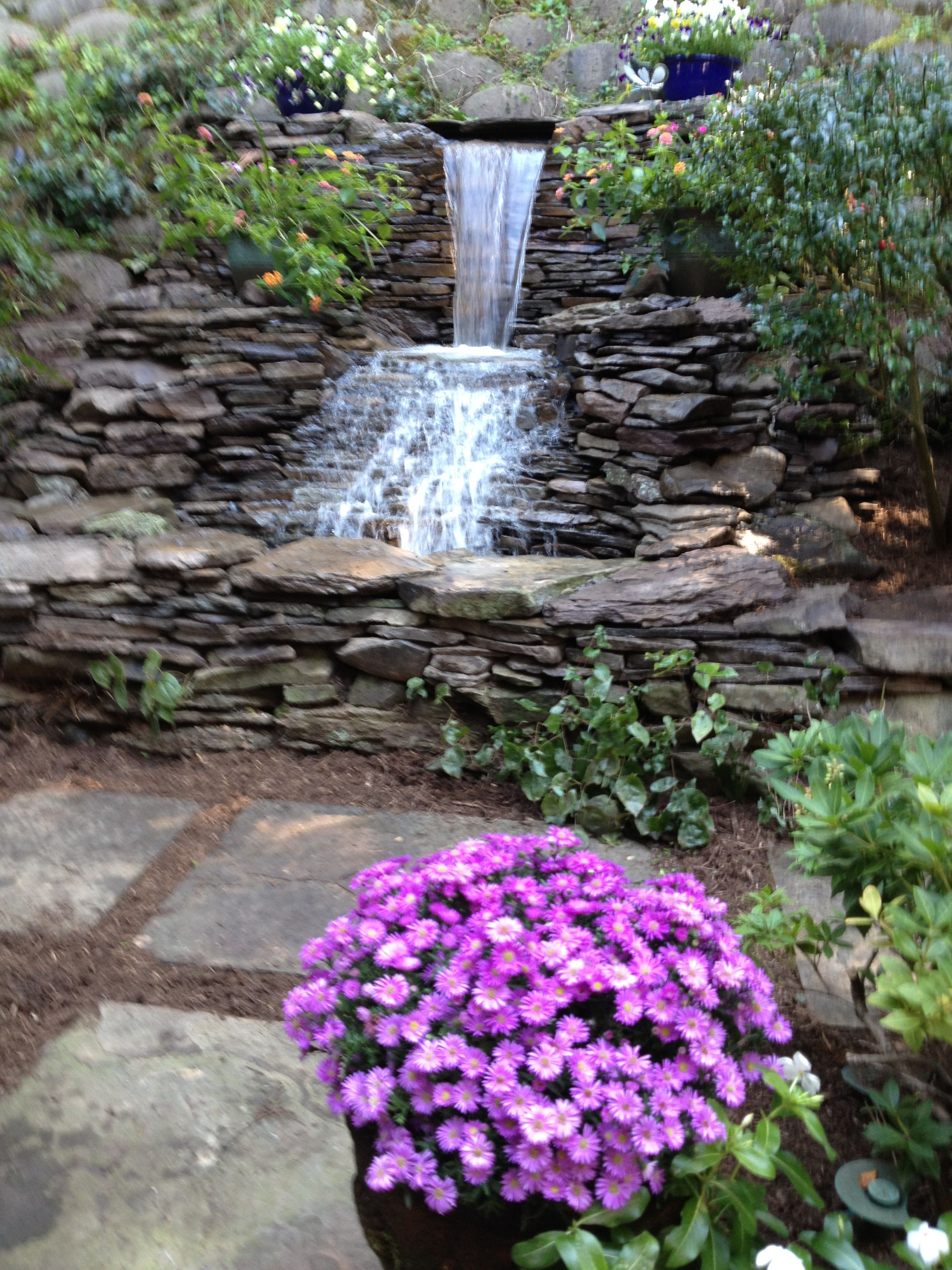 Pondless backyard waterfall - smaller version in front ... on Front Yard Waterfall Ideas id=84930