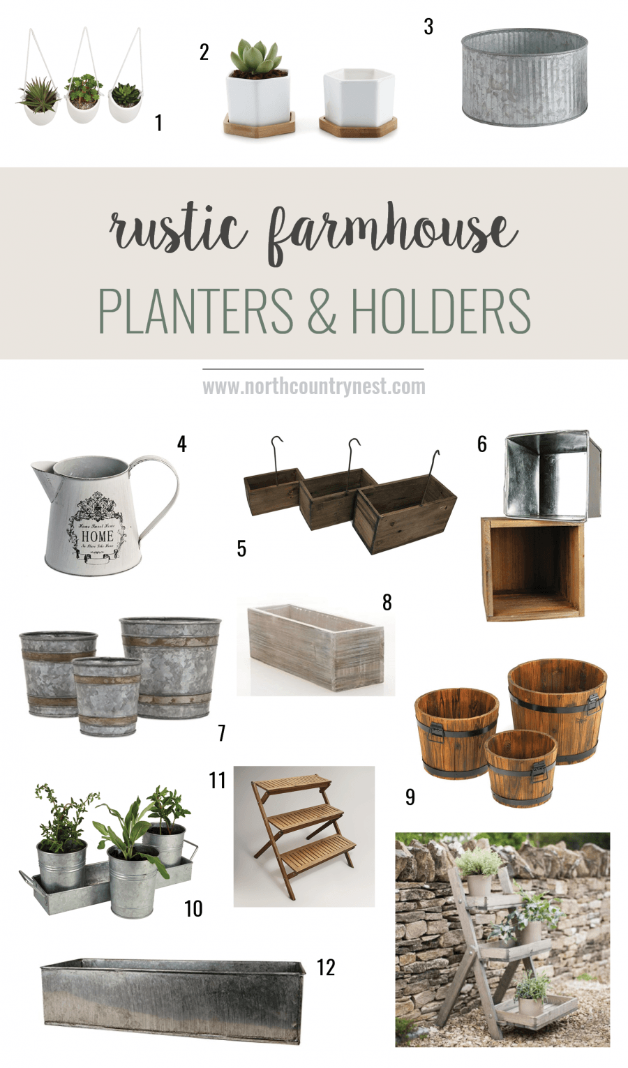 Rustic Farmhouse Planters Farmhouse Outdoor Decor Rustic Farmhouse Rustic Planters
