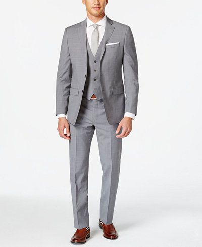 3f71cbd11 Calvin Klein X-Fit Grey Plaid Vested Extra Slim-Fit Suit | A Big Day ...