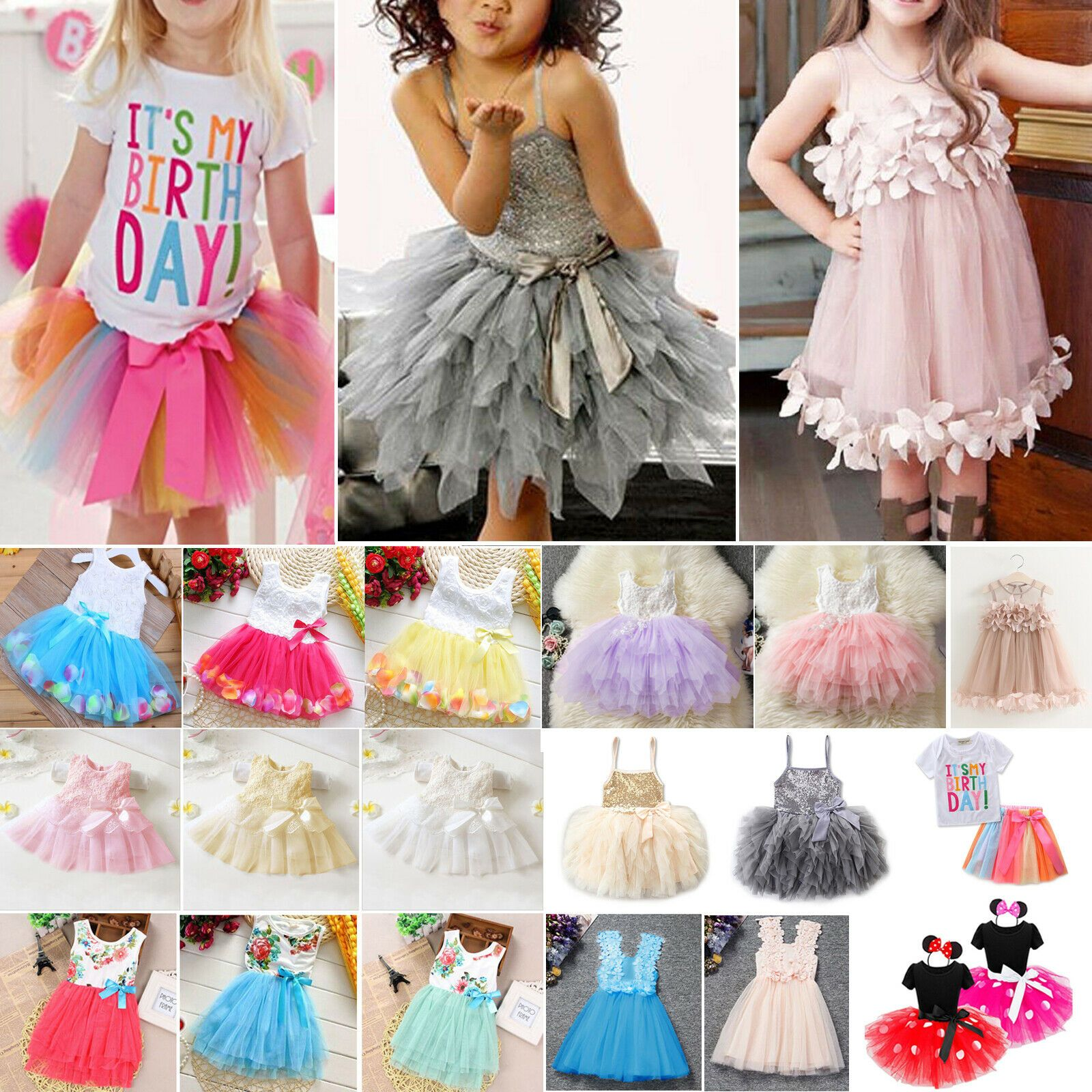 Flower Girls Princess Party Pageant Wedding Bridesmaid Formal Tulle Tutu Dresses