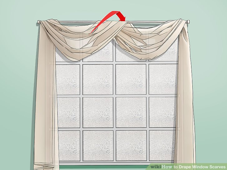 How To Drape Window Scarves In 2020 Scarf Curtains Window Scarf Curtains #scarf #curtains #for #living #room