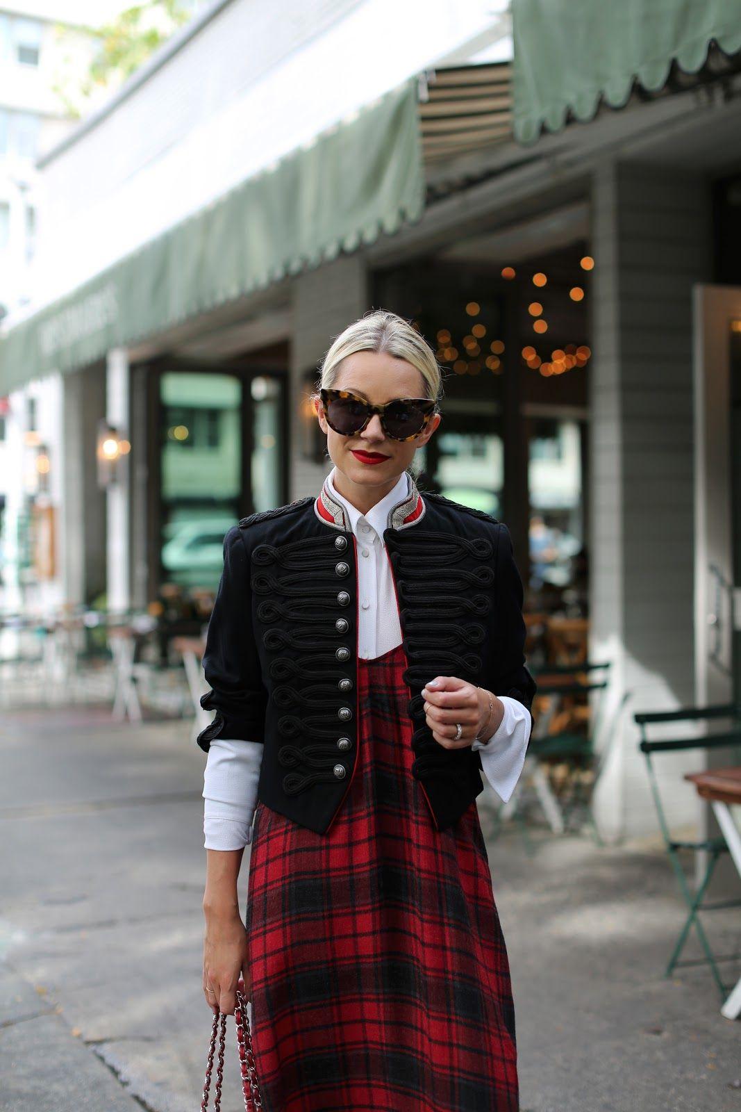 Plaid Slip Dress: Zara  (shop all of my other favorite slip dresses below). Shoes: Gucci . Top: Michael Kors . Band Jack...