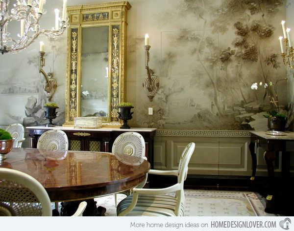 20 Conventional Dining Rooms With Wallpaper Murals Home Design Lover Elegant Dining Room Dining Room Design Dining Room Remodel