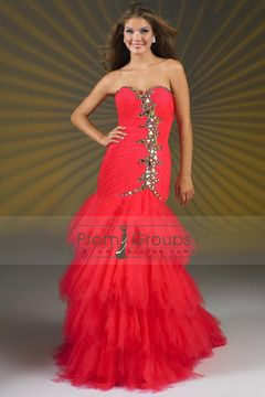 2014 Charming Tulle A Line Prom Dresses Sweeetheart Brush Train Ruched With Beadings USD 283.49 PGP745C2XE - PromGroups.com