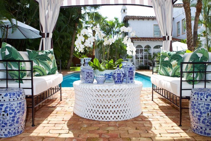 poolside canopy transitional deckpatio luxe report - Transitional Canopy Decorating