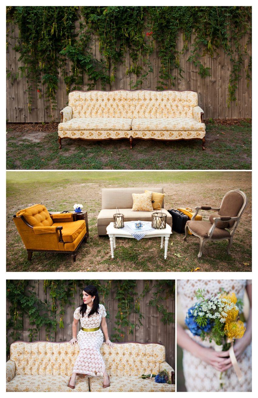 Outdoor living room setup | Wedding reception rooms