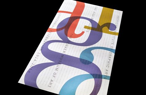 AIGA 100 Poster | PaperSpecs. This commemorative poster for AIGA's 100th anniversary pays tribute to all that came before … literally! The design, created by Studio Hinrichs, features the names of ALL past medalists.