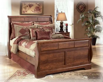 Ashley Timberline Queen Sleigh Bed In Cherry Discount Cheap Bedroom Furniture Save Up To 70 Off Queen Sleigh Bed Ashley Furniture Ashley Furniture Bedroom