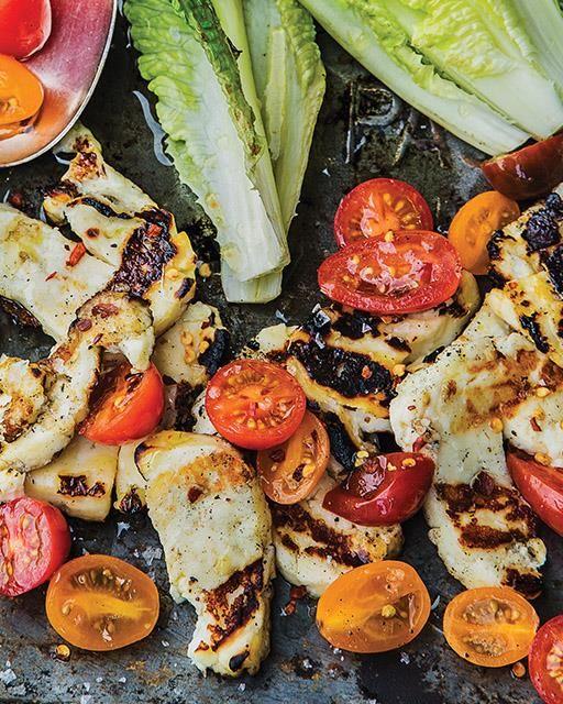 Chili & Lime Marinated Halloumi with Tomato Salad & Charred Romaine