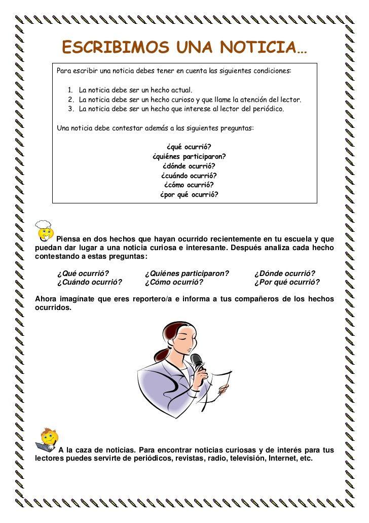 Resultado De Imagen Para Como Escribir Una Noticia Para Niños Texto Informativo Portadores De Texto Practicas Del Lenguaje
