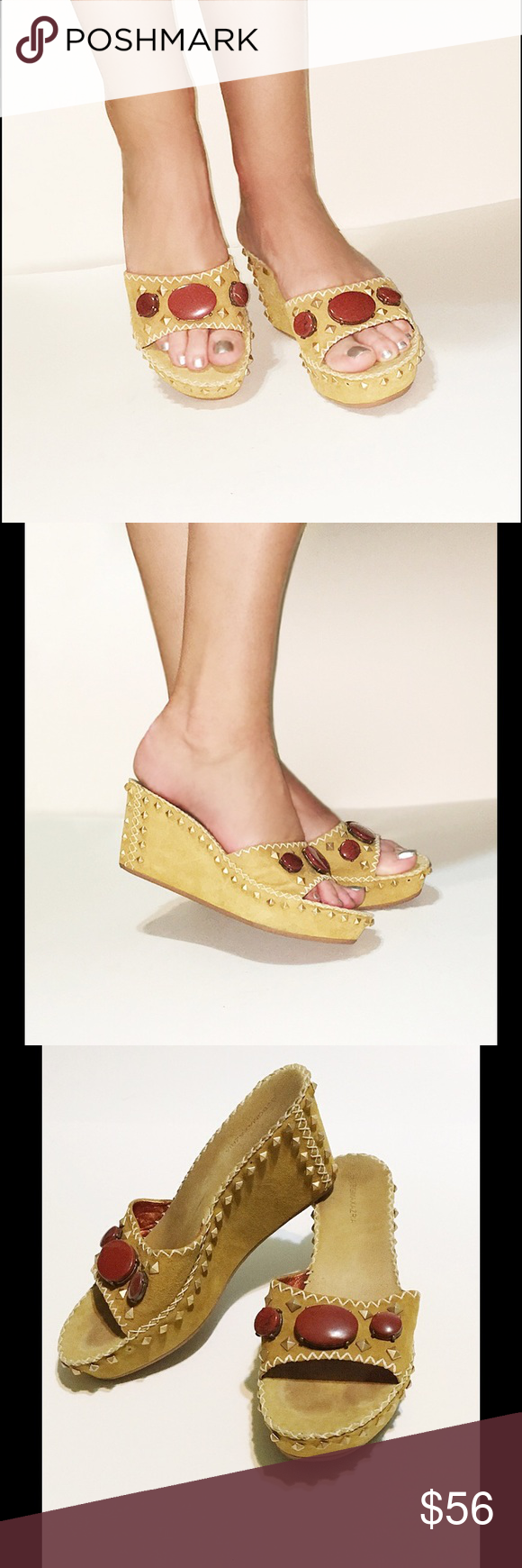 eec5d21c5eab28 Bcbg wedge platform suede sandals studs gemstone shoes pic tan png 580x1740  Bcbg natural heels
