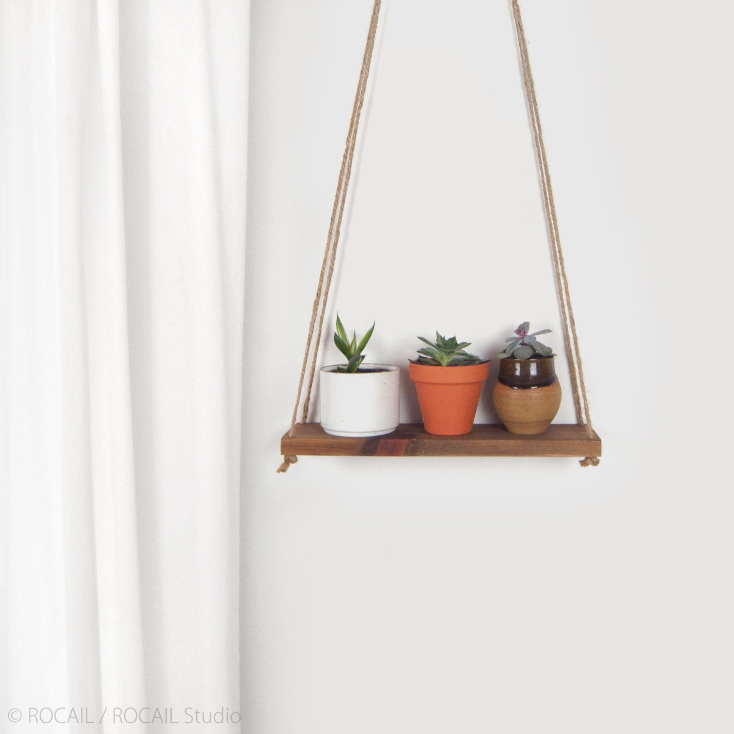 Reclaimed wood hanging planter swing wall shelf floating shelving wooden plant stand holder jute hanger unique christmas gift by rocailstudio on
