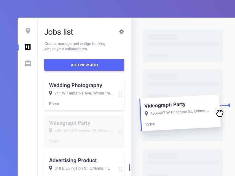 Jobs List Cards List Of Jobs Web App Design Web Design
