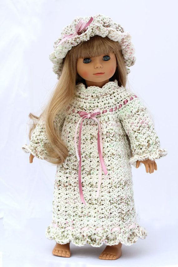 Pioneer Nightgown and Nightcap Crochet Pattern, To Fit 18 inch Dolls ...