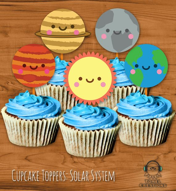 Solar System Cupcake Toppers INSTANT download, Kawaii ...