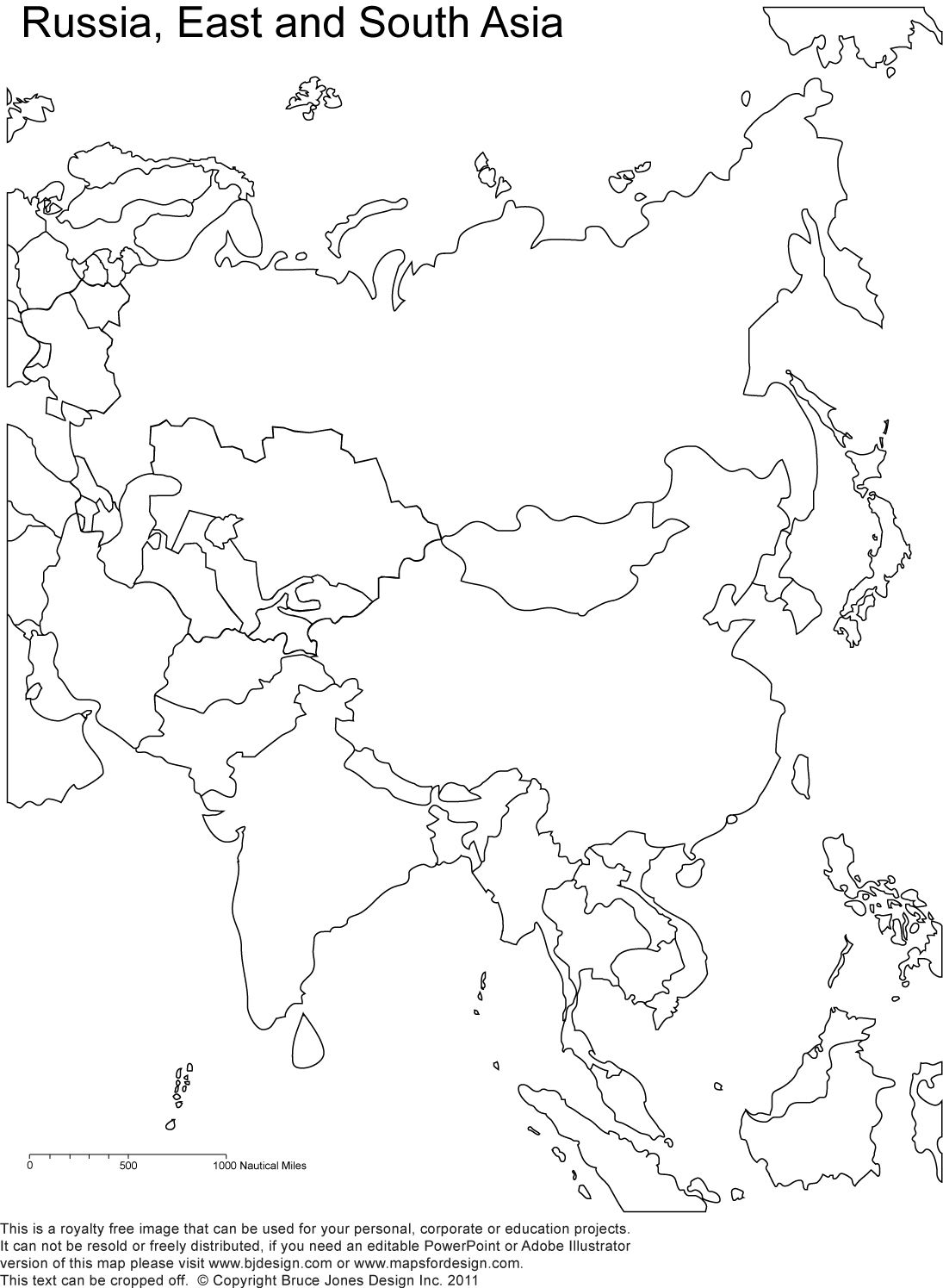 Russia And Asia Blank Printable Map Royalty Free