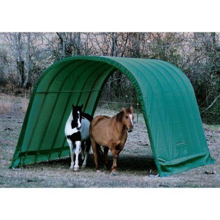 Equine Run-In Shed Round-Style, 12' x 24' x 9', Green
