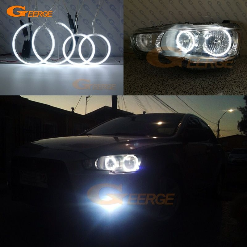27 61 For Mitsubishi Lancer X 10 2007 2016 Halogen Headlight Excellent Ultra Bright Illumination Ccfl Angel Eyes Ki Mitsubishi Lancer Mitsubishi Car Lights
