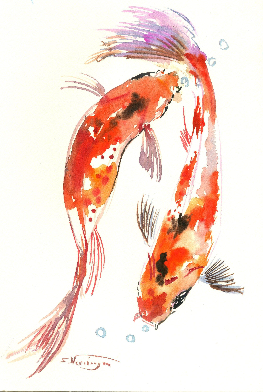 Two Koi Fish Koi Pond Artwork Small Feng Shui Watercolor Wall Art Koi Fish Painting Fishing Fengshui Originalart O Koi Watercolor Koi Art Fish Painting