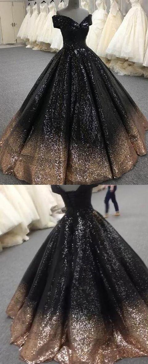 Bling Bling Sequins Gold/Black Ball Gown Prom Dresses Off Shoulder Formal Evening gown