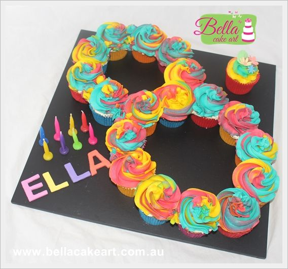 Rainbow Cupcakes Shaped Into A Number 8 8th Birthday Cakes For Girls Treats